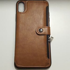 "Case for iphone xs max 6.5"" leather brown-black"